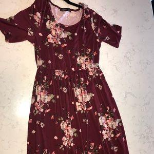 Mikarose Maroon Soft Floral Maxi Dress